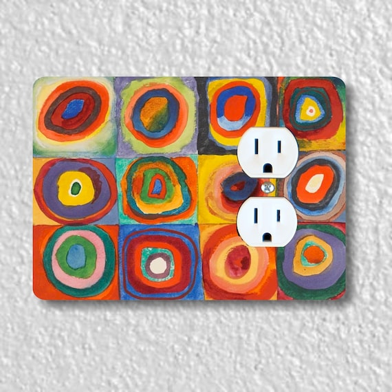 Kandinsky Squares With Concentric Circles Painting Precision Laser Cut Duplex and Grounded Outlet Wall Plate Covers