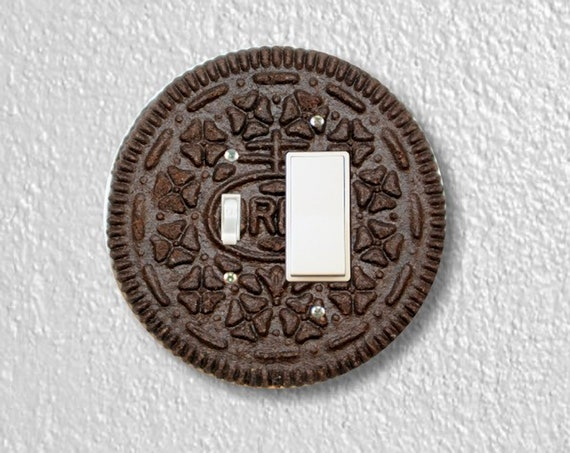 Precision Laser Cut Round Toggle and Decora Rocker Light Switch Plate Cover - Chocolate Sandwich Cookie - Home Decor - Wallplates