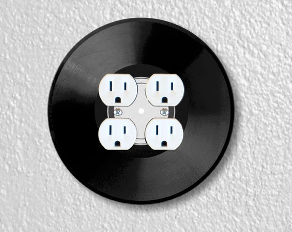 Vinyl Record Round Double Duplex Outlet Plate Cover