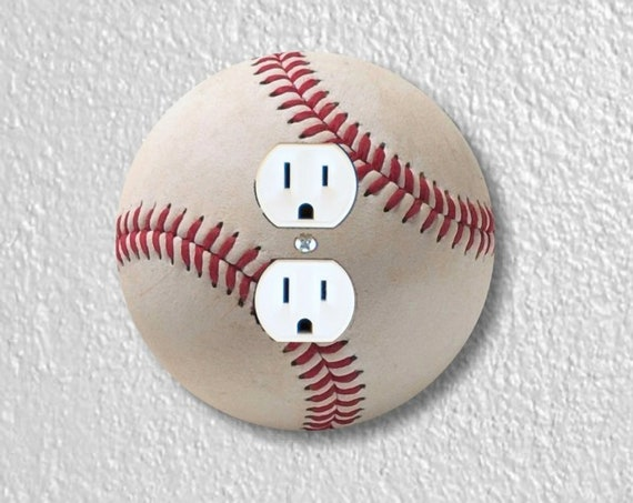 White Baseball Precision Laser Cut Duplex and Grounded Outlet Round Wall Plate Covers