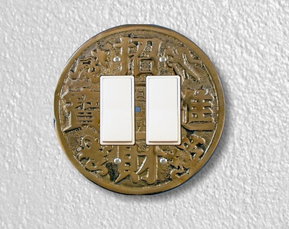 Chinese Fortune Coin Round Decora Double Rocker Switch Plate Cover
