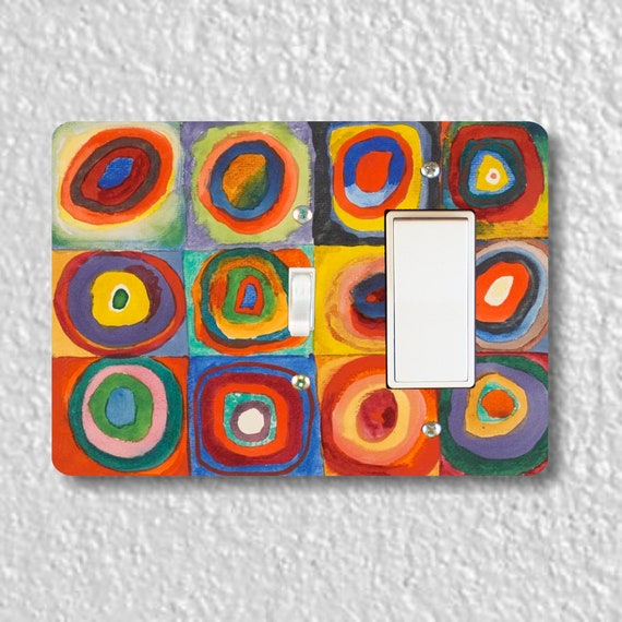 Kandinsky Squares With Concentric Circles Painting - Precision Laser Cut Toggle and Decora Rocker Double Switch Plate Cover - Wall Plate
