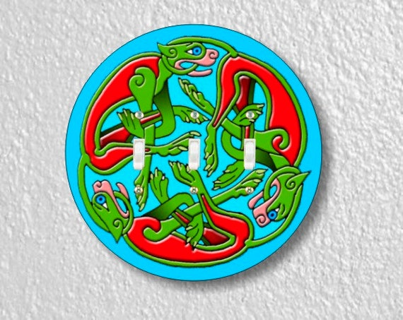 Celtic Dragon Round Triple Toggle Light Switch Plate Cover