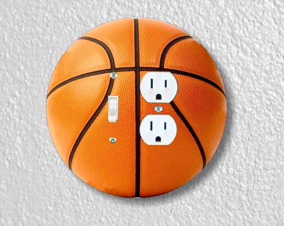 Burnt Orange Basketball Round Toggle Switch and Duplex Outlet Double Plate Cover
