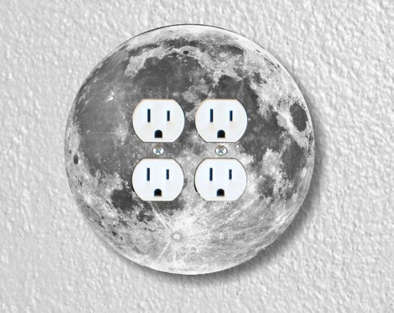 Moon from Space Round Double Duplex Outlet Plate Cover