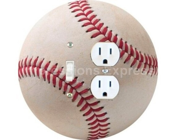 White Baseball Toggle Switch and Duplex Outlet Double Plate Cover