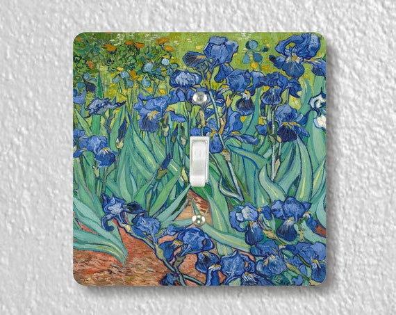 Vincent Van Gogh Irises - Precision Laser Cut Toggle and Decora Rocker Square Light Switch Plate Covers - Home Decor - Wall Plates
