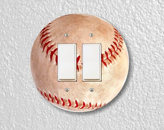 Baseball Ball Sport Round Decora Double Rocker Switch Plate Cover