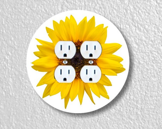 Sunflower Flower Round Double Duplex Outlet Plate Cover