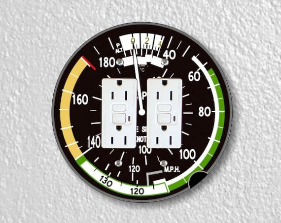 Aviation Airspeed Indicator Round Double Grounded GFI Outlet Plate Cover