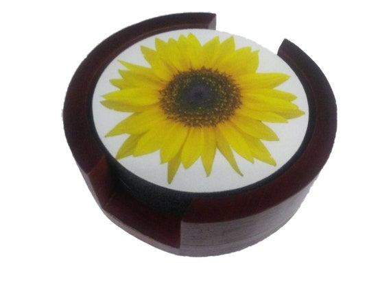 Sunflower Flower Coaster Set of 5 with Wood Holder