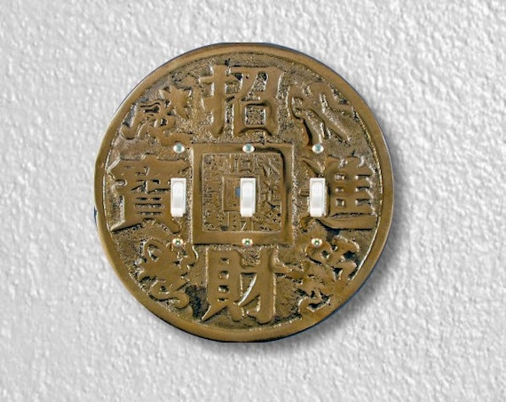 Chinese Fortune Coin Round Triple Toggle Switch Plate Cover