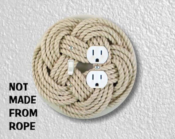 Turk's Head Knot Nautical Photo Round Toggle Switch and Duplex Outlet Double Plate Cover