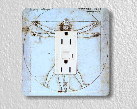 Vitruvian Man Da Vinci Drawing Square GFI Grounded Outlet Plate Cover