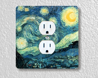 Vincent Van Gogh Starry Night Precision Laser Cut Duplex and Grounded Outlet Square Wall Plate Covers