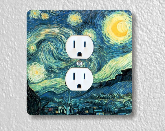 Vincent Van Gogh Starry Night - Precision Laser Cut Duplex And Grounded Outlet Square Plate Covers - Home Decor - Wall Decor - Wall Plates