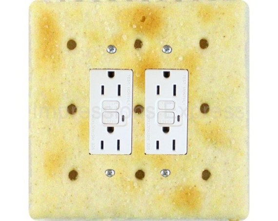 Saltine Cracker Square Double Grounded GFI Outlet Plate Cover