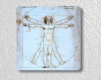 Vitruvian Man Da Vinci Precision Laser Cut Toggle and Decora Rocker Square Light Switch Wall Plate Covers