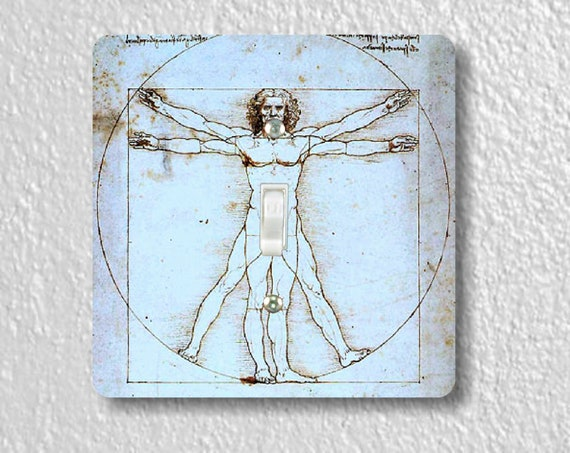 Vitruvian Man Da Vinci - Precision Laser Cut Toggle and Decora Rocker Square Light Switch Plate Covers - Home Decor - Wall Plates