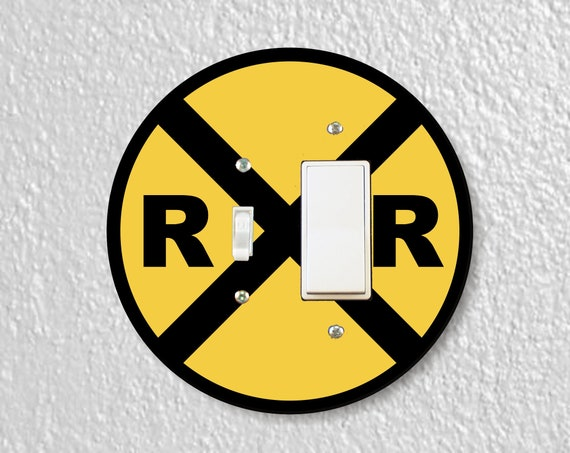 Railroad Crossing Sign Precision Laser Cut Toggle and Decora Rocker Light Switch Plate Cover