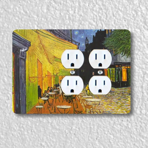Café Terrace at Night Van Gogh Painting Double Duplex Outlet Plate Cover