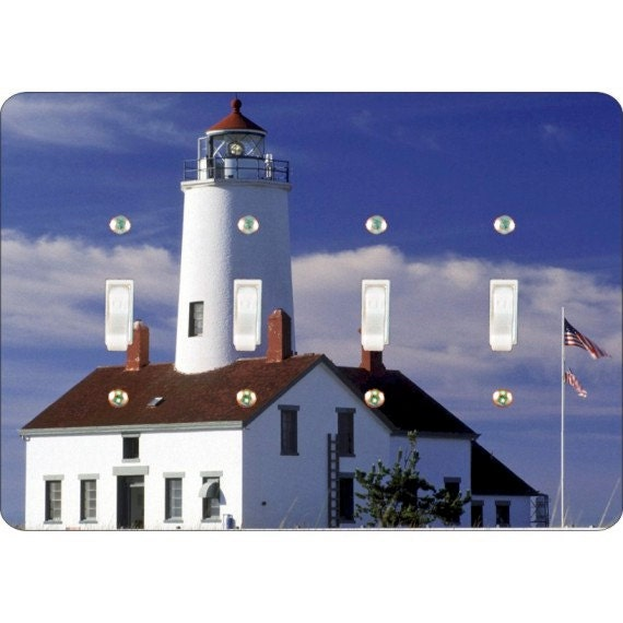 Lighthouse Nautical Quadruple Toggle Light Switch Plate Cover