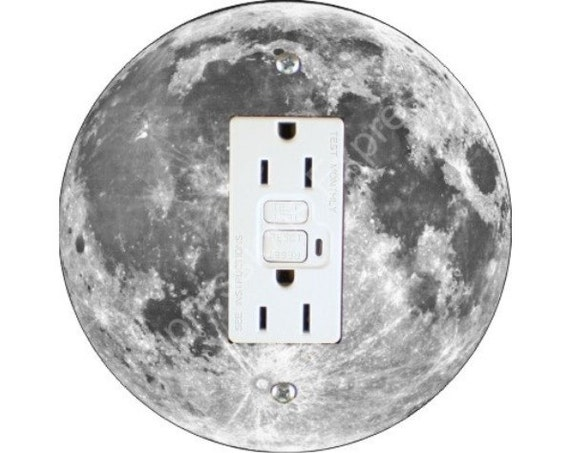 Moon from Space Grounded GFI Outlet Plate Cover