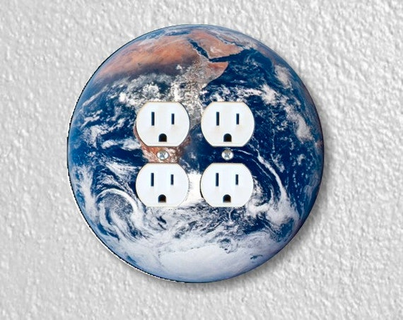 Planet Earth From Space Round Double Duplex Outlet Plate Cover