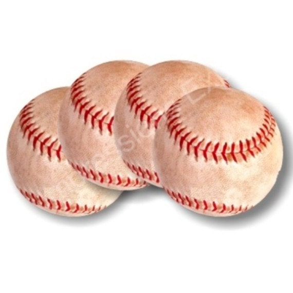 Baseball Ball Sport Round Coasters - Set of 4