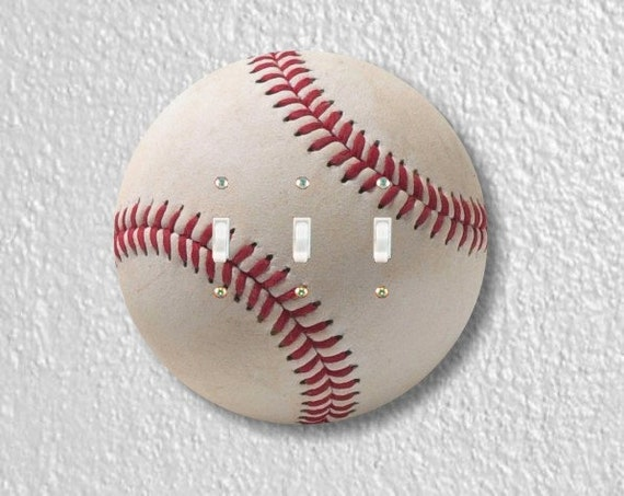White Baseball Round Triple Toggle Light Switch Plate Cover