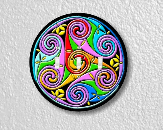 Celtic Triskel Round Triple Toggle Switch Plate Cover