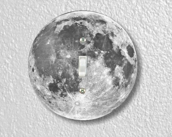 Moon from Space Round Single Toggle Light Switch Plate Cover
