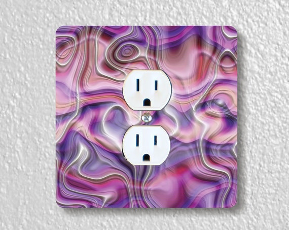 Purple Silk Ripple Precision Laser Cut Duplex and Grounded Outlet Square Wall Plate Covers