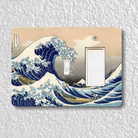 Precision Laser Cut Toggle and Decora Rocker Double Switch Plate Cover - Kanagawa Great Wave Hokusai Painting - Home Decor - Wallplate