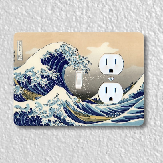 Precision Laser Cut Toggle Switch and Duplex Outlet Double Plate Cover - Kanagawa Great Wave Hokusai Painting - Home Decor - wallplate