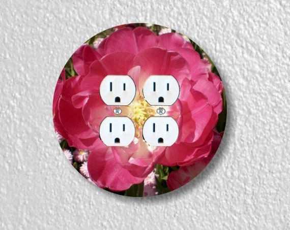 Double Tulip Flower Round Double Duplex Outlet Plate Cover
