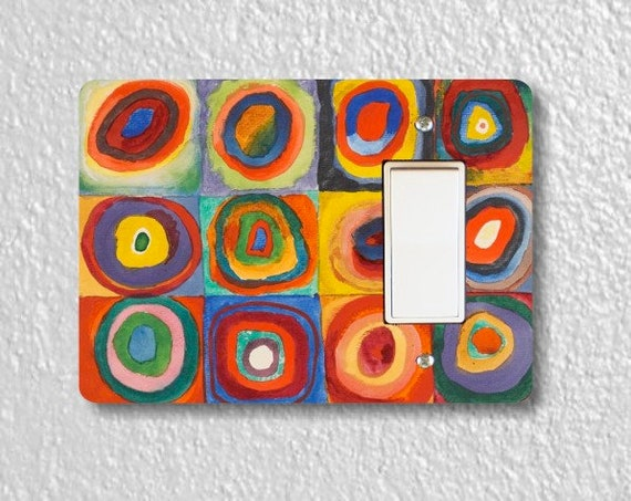 Kandinsky Squares With Concentric Circles Painting Decora Rocker Light Switch Plate Cover