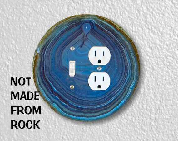 Blue Geode Stone Round Toggle Switch and Duplex Outlet Double Plate Cover