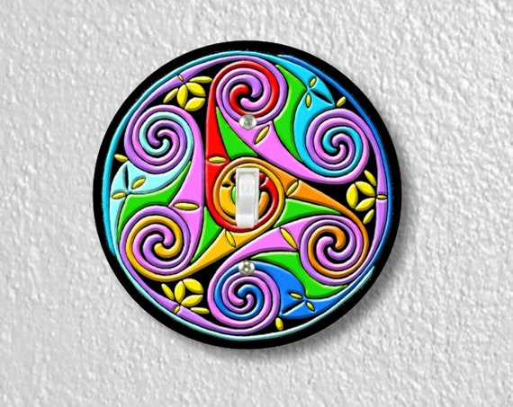 Precision Laser Cut Toggle And Decora Rocker Round Light Switch Plate Covers - Celtic Triskel - Home Decor - Wallplates