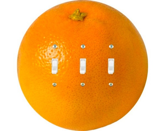 Orange Fruit Triple Toggle Light Switch Plate Cover