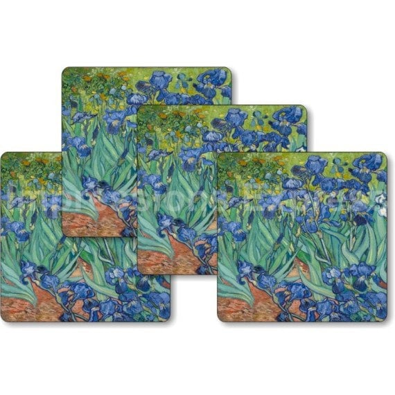 Vincent Van Gogh Irises Painting Square Coasters - Set of 4