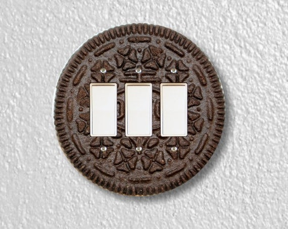 Chocolate Sandwich Cookie Round Triple Decora Rocker Switch Plate Cover