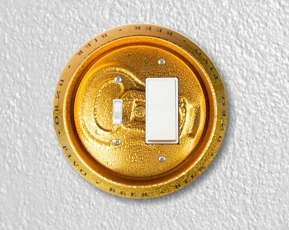 Precision Laser Cut Toggle and Decora Rocker Round Switch Plate Cover - Beer Can - Home Decor - Wallplates