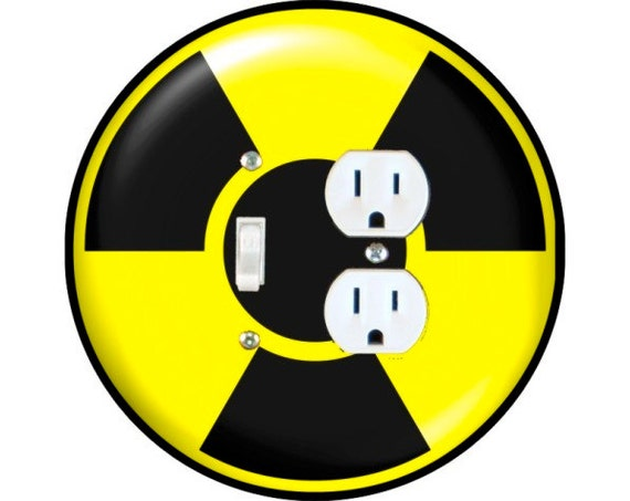 Radioactive Sign Toggle Switch and Duplex Outlet Double Plate Cover