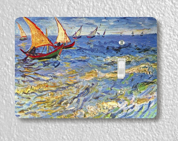 Seascape at Saintes-Maries Van Gogh Art Painting Precision Laser Cut Toggle and Decora Rocker Light Switch Wall Plate Covers