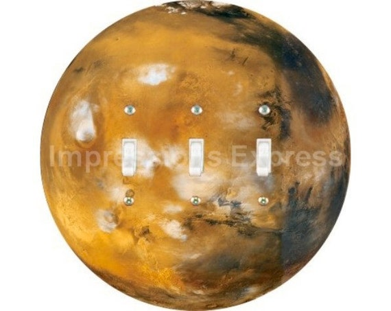 Planet Mars Space Triple Toggle Switch Plate Cover