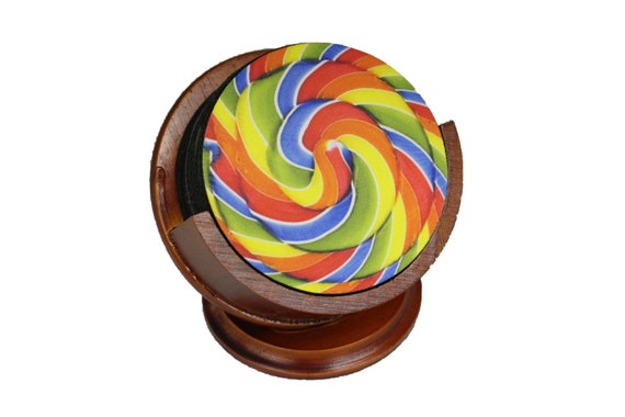 Giant Lollipop Coaster Set of 8 Neoprene Backed with Cherry Colored Pedestal Wood Holder