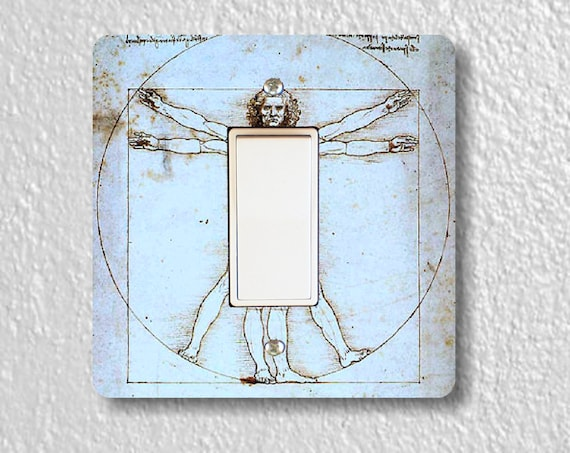 Vitruvian Man Da Vinci Drawing Square Decora Rocker Light Switch Plate Cover