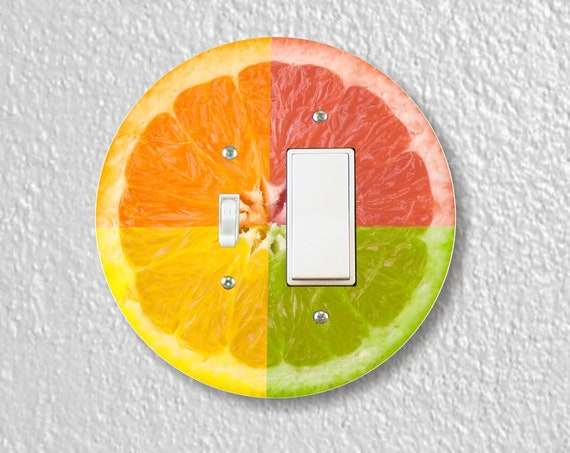 Funky Grapefruit Fruit - Precision Laser Cut Round Toggle and Decora Rocker Light Switch Plate Cover - Home Decor - Wall Plate
