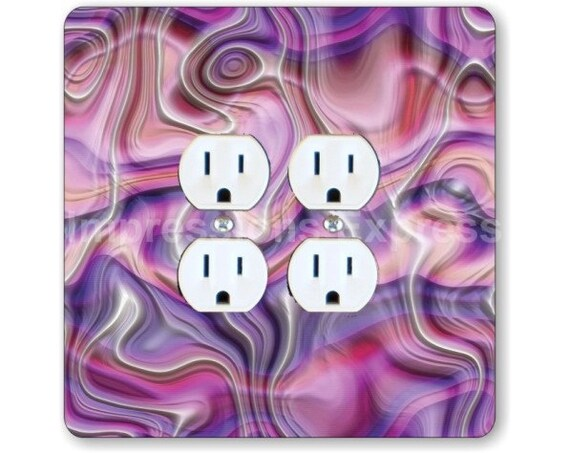 Purple Silk Ripple Square Double Duplex Outlet Plate Cover